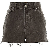 Grey high waisted frayed Darcy denim shorts