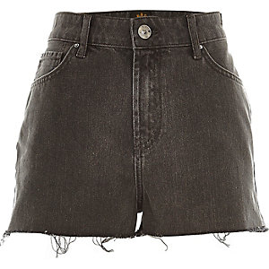Grey high waisted frayed Darcy denim shorts