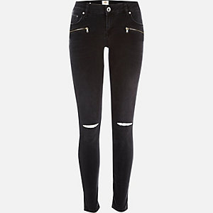 Black ripped zip Cara superskinny jeans