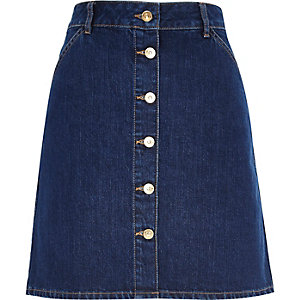 Mid wash 70s button A-line denim skirt