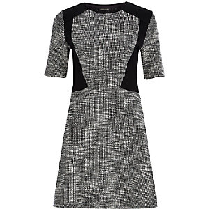 Black block panel A-line dress