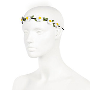 White daisy flower hair garland