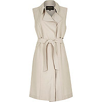 Beige sleeveless trench jacket