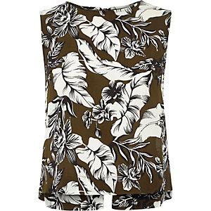 Khaki floral print bow back tank top