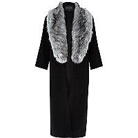 Black fur trim longline kimono