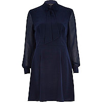 Navy bow front A-line long sleeve dress
