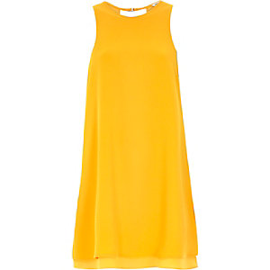 Orange crepe swing dress