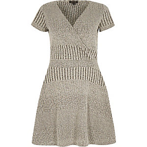 Grey waisted wrap dress