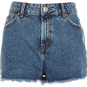 Mid wash high waisted Darcy denim shorts