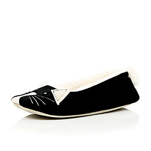 Black velvet cat ballet slippers