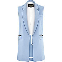 Light blue woven sleeveless jacket