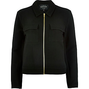 Black jersey utility worker jacket