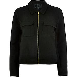 Black jersey utility worker jacket