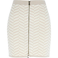Beige chevron print mini skirt