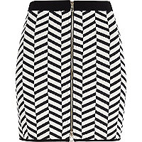 Black chevron print mini skirt