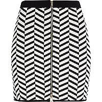 Black chevron print mini skirt