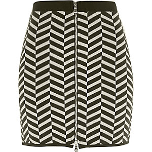 Khaki green chevron print mini skirt