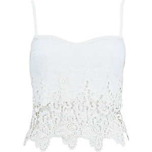 Cream crochet zip back bralet