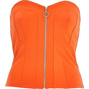 Orange zip front cropped top
