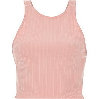 Pink ribbed racer crop top