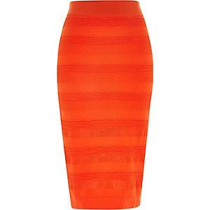 Red sheer panel pencil skirt