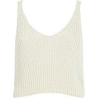 White metallic cropped vest