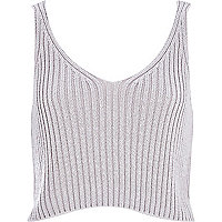 Grey metallic cropped vest