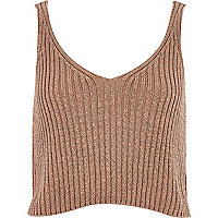 Camel metallic cropped vest