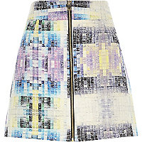Purple woven tile print A-line skirt