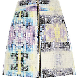 Purple woven tile print A-line skirt