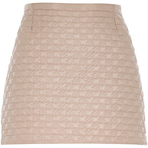 Light pink quilted mini skirt