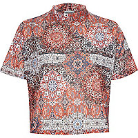Orange paisley print turtle neck t-shirt
