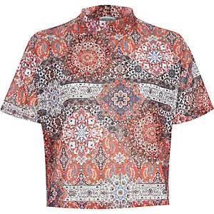 Orange paisley print turtle neck t-shirt