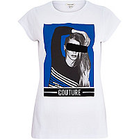 White couture print fitted t-shirt
