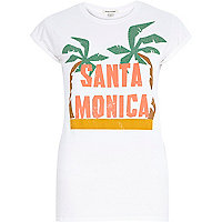 White Santa Monica palm print fitted t-shirt