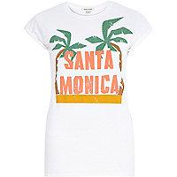 White Santa Monica palm print fitted t-shirt
