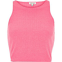Bright pink ribbed racer crop top