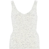 Cream marl ribbed V front vest