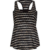 Black stripe dropped armhole bandeau vest