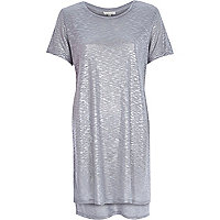 Metallic grey side split t-shirt