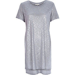 Metallic grey side split t-shirt