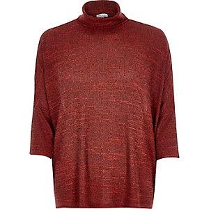 Orange space dye cowl neck top
