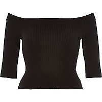 Black chunky ribbed bardot top