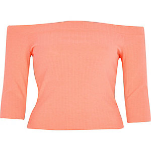 Coral chunky ribbed bardot top