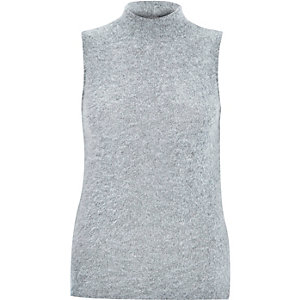 Grey fluffy sleeveless turtle neck top