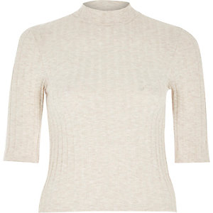 Beige ribbed cropped turtle neck top
