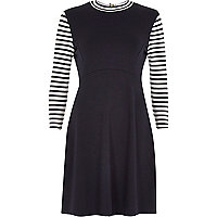 Navy stripe 3/4 sleeve dress