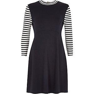 Navy stripe 3/4 sleeve dress