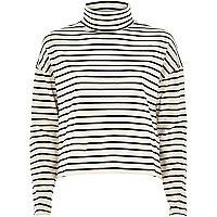Cream stripe boxy roll neck top
