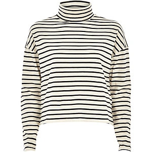 Cream stripe boxy roll neck top